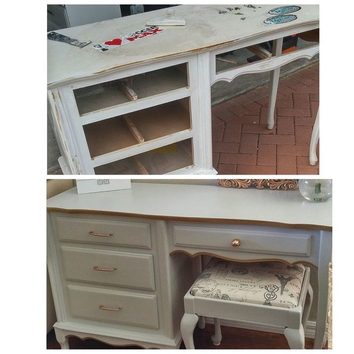 French Provincial Desk Vanity Makeover Painted Furniture