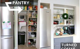 pantry converted to coffee bar, closet, kitchen cabinets, kitchen design, repurposing upcycling