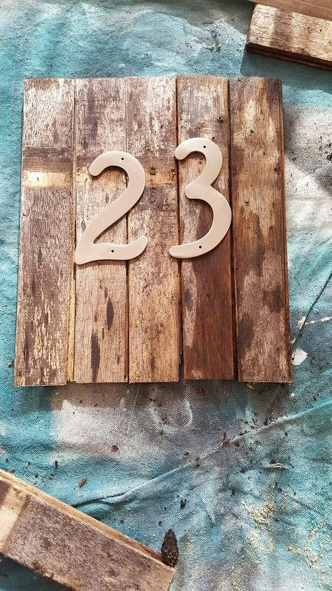 upcycled house number sign, crafts, curb appeal, woodworking projects