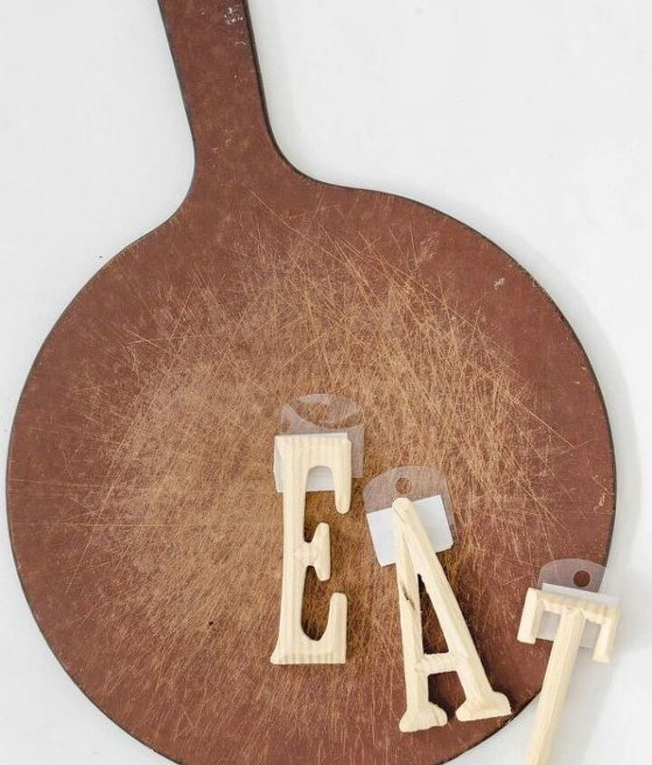 diy kitchen art made from a repurposed pizza board, crafts, repurposing upcycling, wall decor