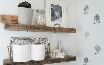 diy rustic bathroom shelves, bathroom ideas, diy, rustic furniture, shelving ideas