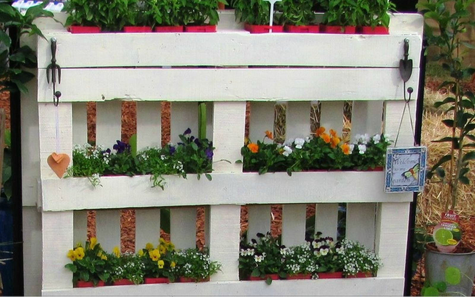 s 18 incredibly easy ways to use the entire pallet, pallet, Fill one with planters for an easy garden