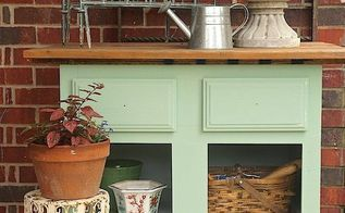 base cabinet turned potting bench, container gardening, gardening, outdoor furniture, repurposing upcycling