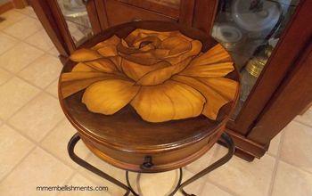 rose stain painted small accent table, painted furniture
