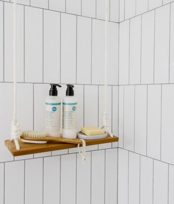 hang a swing shelf in the shower or anywhere, bathroom ideas, diy, shelving ideas, woodworking projects