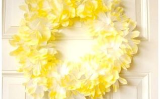 yellow coffee filter blossom wreath, crafts, repurposing upcycling, wreaths