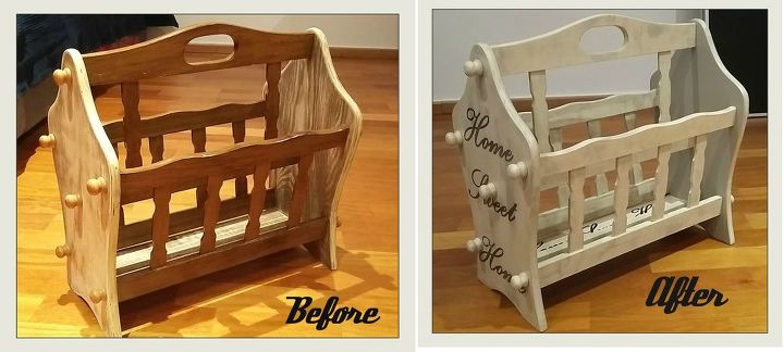refreshing of wooden rack for newspapers shabby chic and transfer, painted furniture, shabby chic