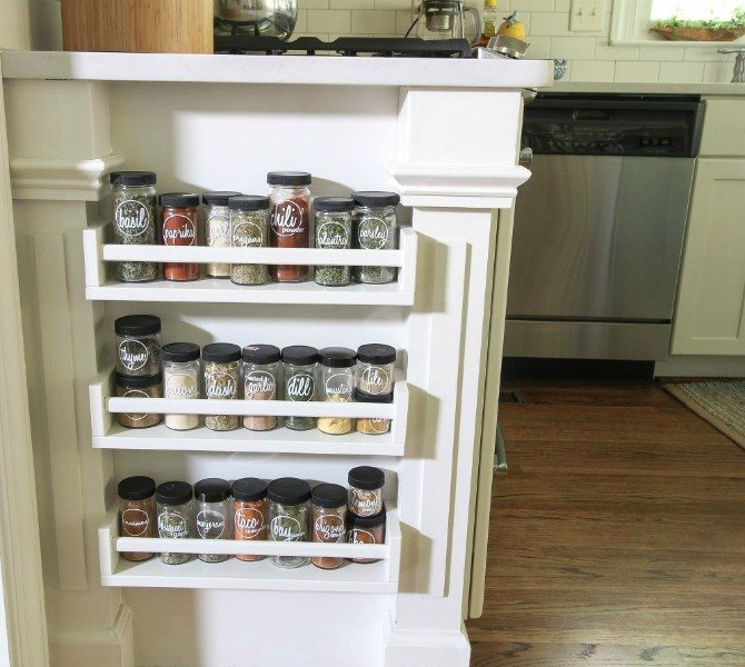 s 10 hidden spots in your kitchen you could be using for storage, kitchen design, storage ideas, Put spices jars on the side of your cabinet