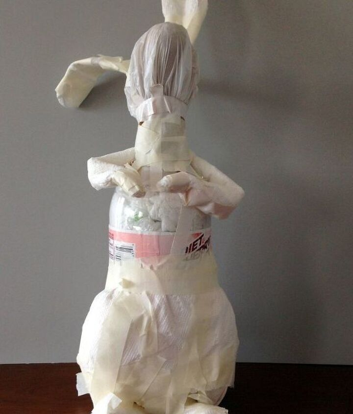 recycled decoupaged paper mache bunny, crafts, decoupage, repurposing upcycling, seasonal holiday decor