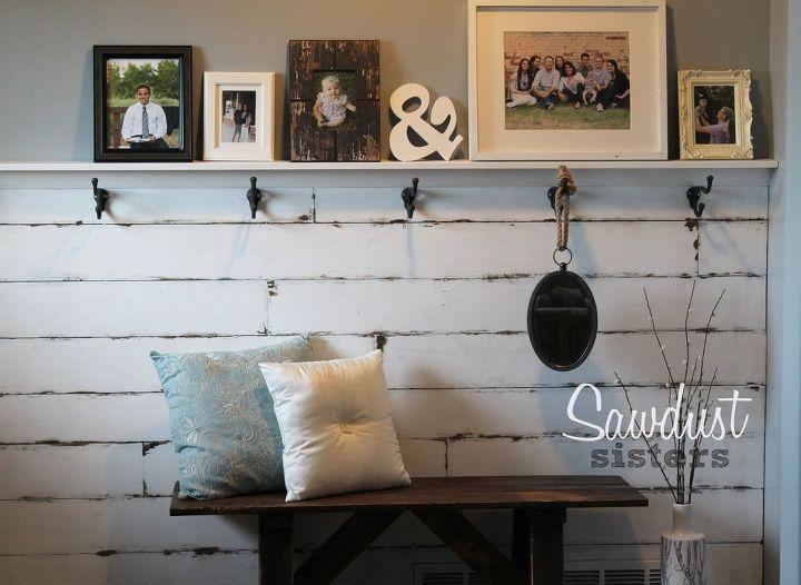 diy entry way plank wall, diy, foyer, wall decor