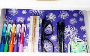 diy wallpaper lined drawers, crafts, home office