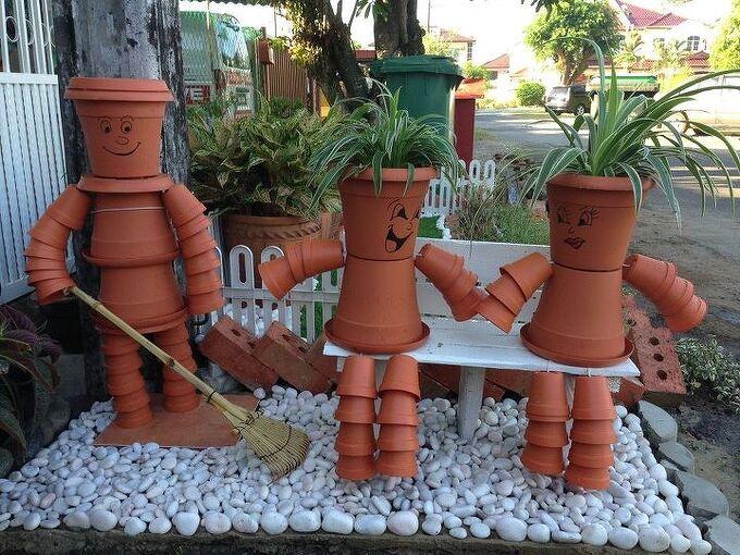 flower pot people, gardening, repurposing upcycling