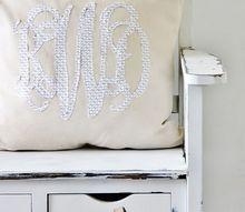 diy monogram pillow, crafts, reupholster