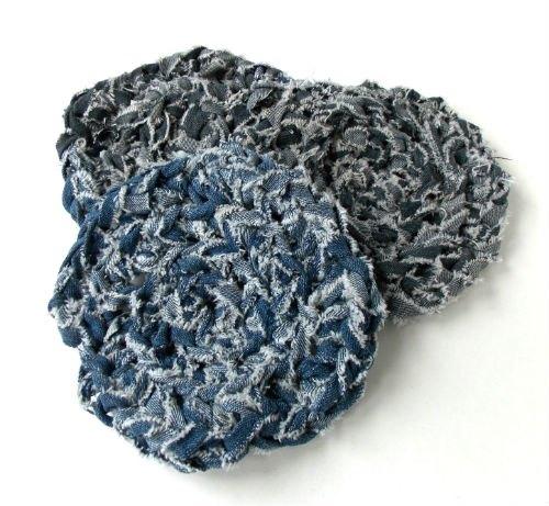 how to crochet denim trivets with denim yarn, crafts