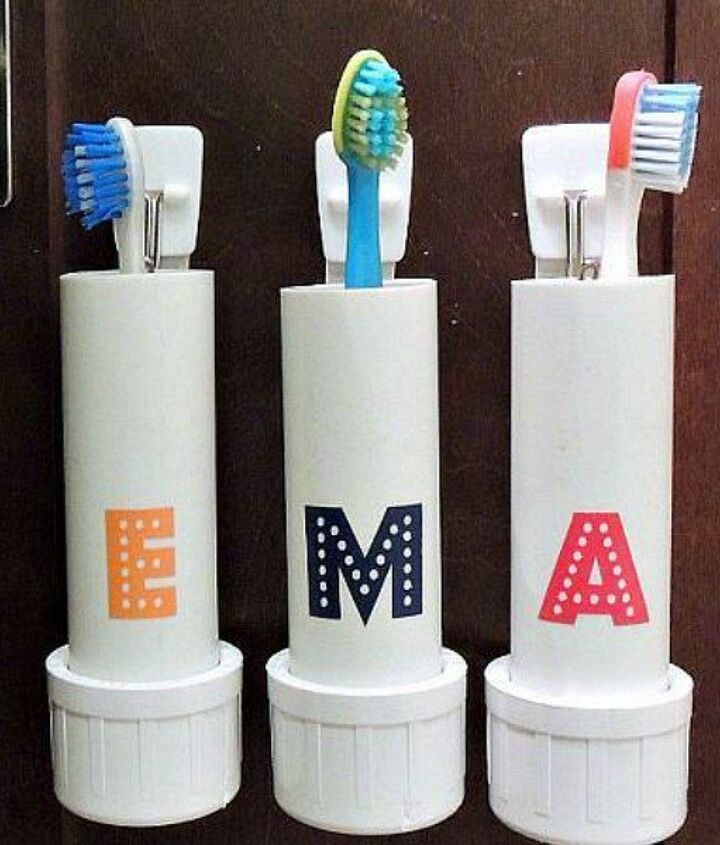 s 15 ridiculously cool uses for leftover pvc pipe, crafts, repurposing upcycling, Craft Toothbrush Holders for the Wall