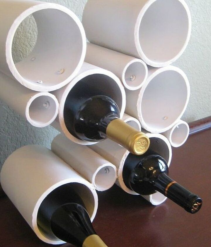 s 15 ridiculously cool uses for leftover pvc pipe, crafts, repurposing upcycling, Craft a Few Pieces into a Standing Wine Rack