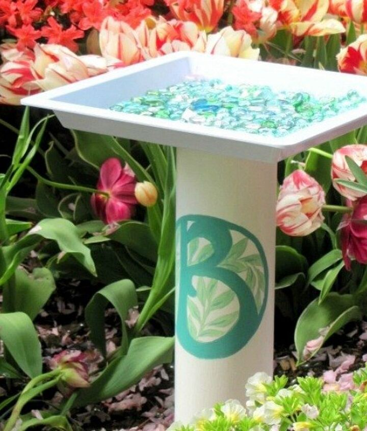 s 15 ridiculously cool uses for leftover pvc pipe, crafts, repurposing upcycling, Pair a Piece with a Tray for This Birdbath