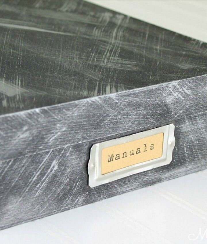 s 9 budget ways to add gleaming metallic accents, crafts, home decor, Organize files with faux aged metal boxes