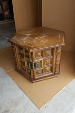 1960s octagon end table makeover pet bed in process, painted furniture, pets, pets animals, Rough looking