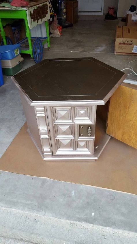 1960s octagon end table makeover pet bed in process, painted furniture, pets, pets animals