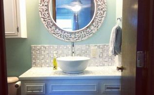 fixerupperstyle diy bathroom vanity, bathroom ideas, countertops, diy, painted furniture, tiling, woodworking projects, The finished improved product