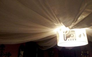 easy peasy draped ceiling and cheap, diy, how to, reupholster, wall decor