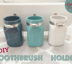 Diy Mason Jar Toothbrush Holder, Craft Rooms, Mason Jars, Organizing, Small  Bathroom