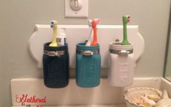 diy mason jar toothbrush holder, craft rooms, mason jars, organizing, small bathroom ideas