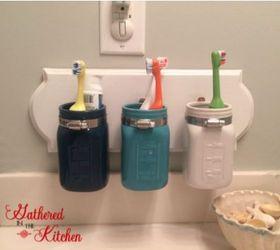 Beautiful Diy Mason Jar Toothbrush Holder, Craft Rooms, Mason Jars, Organizing, Small  Bathroom