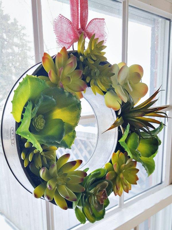 faux succulent ring mold wreath, crafts, succulents, wreaths