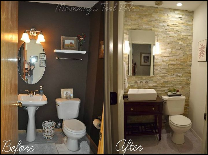 Half bath renovation hometalk for Half bathroom designs