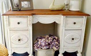 vintage desk makeover, painted furniture