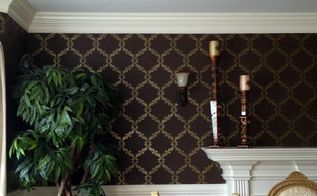 glam haute trend black painted stenciled walls, chalk paint, painting, wall decor
