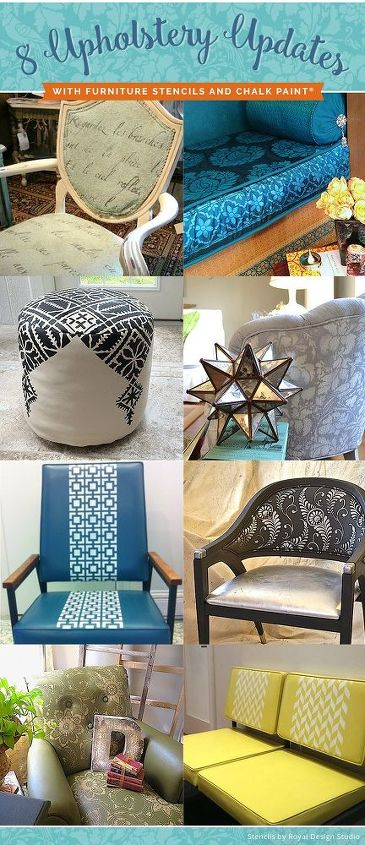 8 beautiful upholstery updates with furniture stencils chalk paint, chalk paint, painted furniture, reupholster