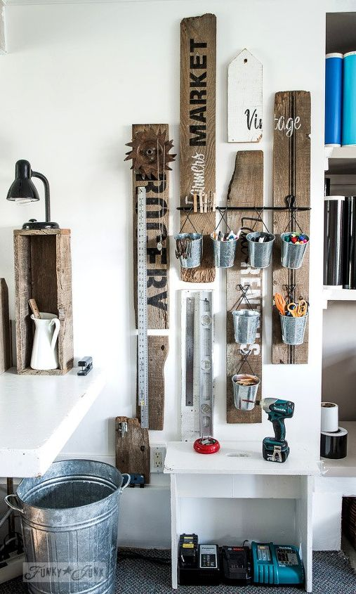 Reclaimed Wood Rustic Home Office: A Rustic Office On A Wall... Thanks To A Few Old Signs