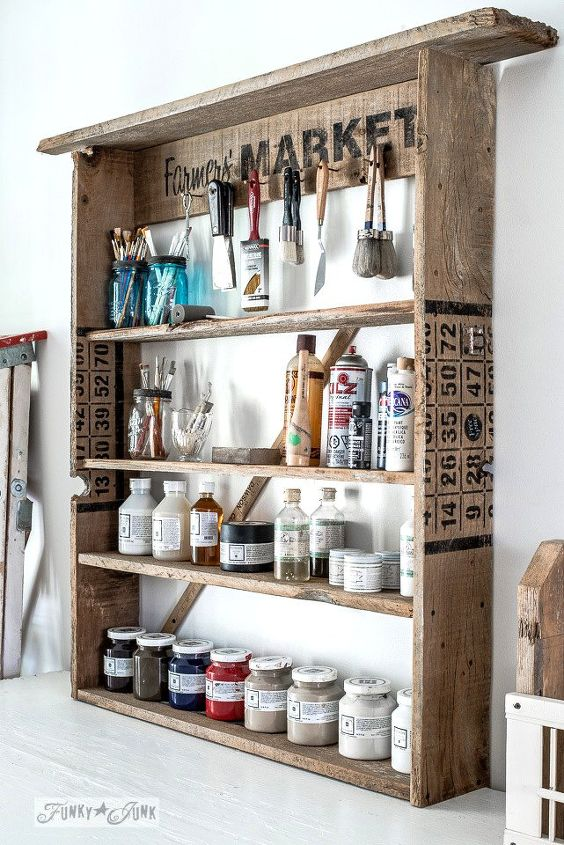 a rustic office on a wall thanks to a few old signs, home office, repurposing upcycling, wall decor, woodworking projects