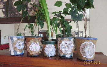Up-Cycled, Ugly, Black Flower Pots.
