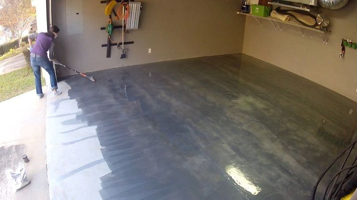 garage floor metallic coating, concrete masonry, diy, flooring, garages, painting