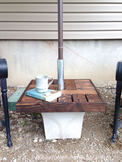 Diy Umbrella Stand With Side Table How To Outdoor Furniture