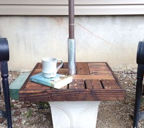 Diy Umbrella Stand With Side Table, Diy, How To, Outdoor Furniture