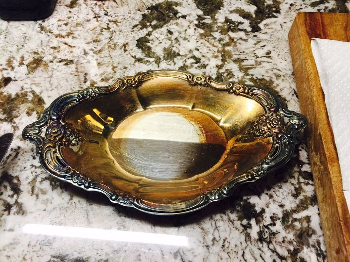 Silver plated dish - BEFORE