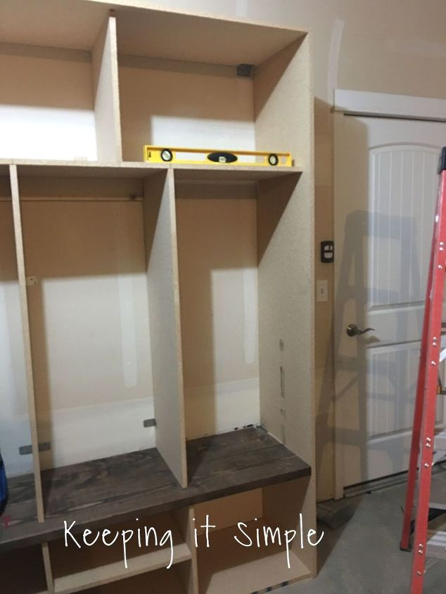 diy garage mudroom lockers with lots of storage garageorganization, diy, foyer, shelving ideas, woodworking projects