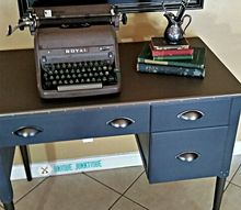 faux metal desk with chalky and metallic paints from the craftstore, chalk paint, painted furniture