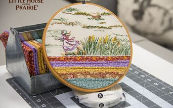 little house on the prairie fabric embroidery sampler transformation, crafts, reupholster, Ta da