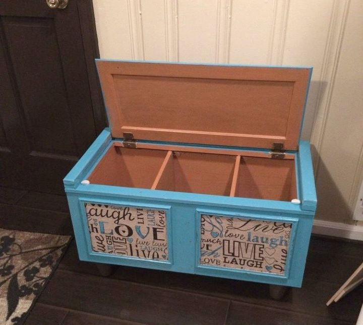 s 13 inexpensive entryway ideas that will make you smile every time you, crafts, foyer, Use an old kitchen cabinet as a storage bench