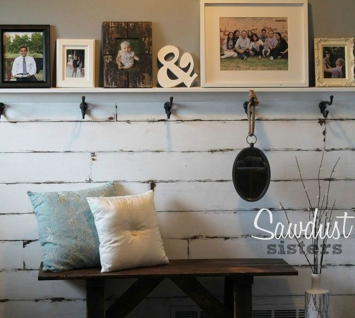 s 13 inexpensive entryway ideas that will make you smile every time you, crafts, foyer, Put up a cheap planked wall with plywood