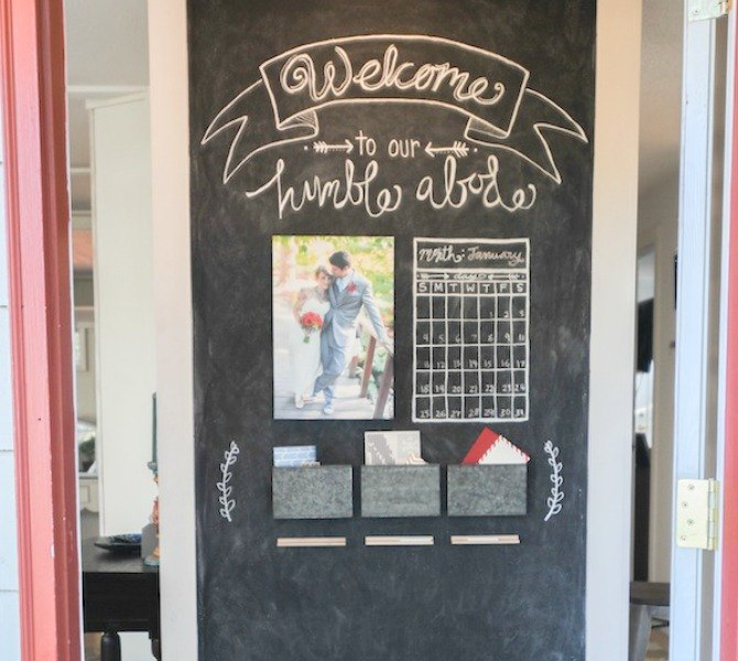 s 13 inexpensive entryway ideas that will make you smile every time you, crafts, foyer, Spend 15 on a chalkboard accent wall