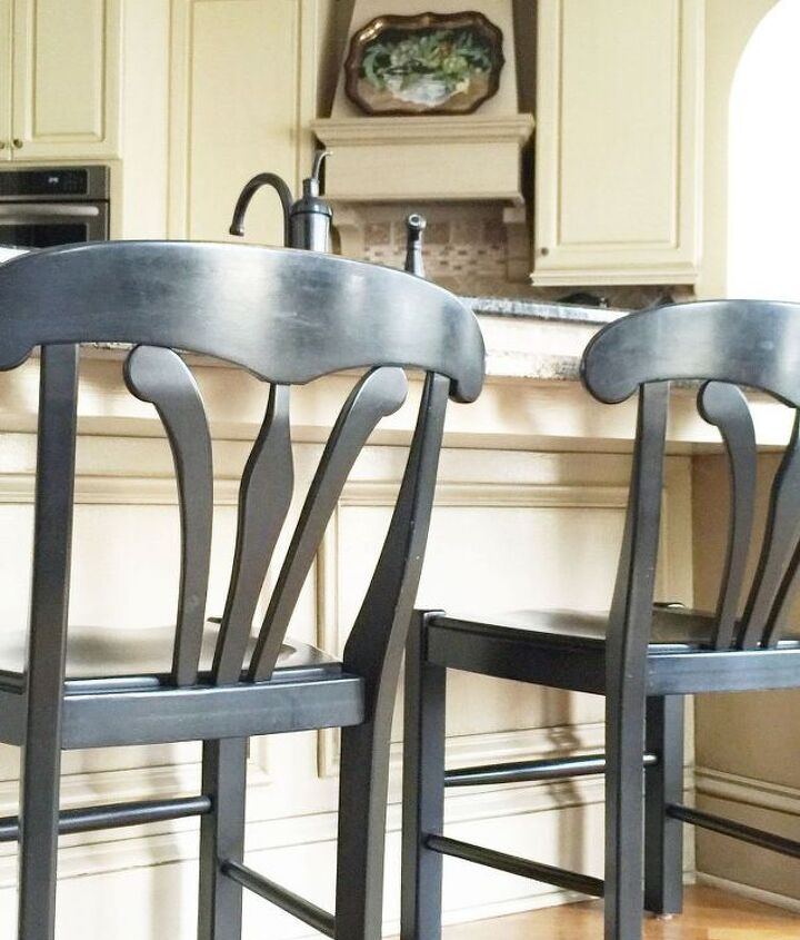 furniture makeover simple way to turn bar stools into table chairs, how to, painted furniture