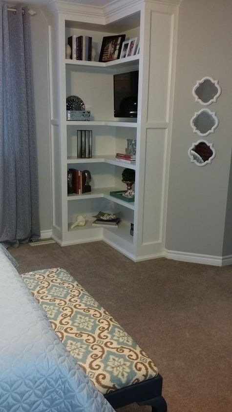 built ins for our bedroom, bedroom ideas, diy, shelving ideas, My husband built these for our bedroom