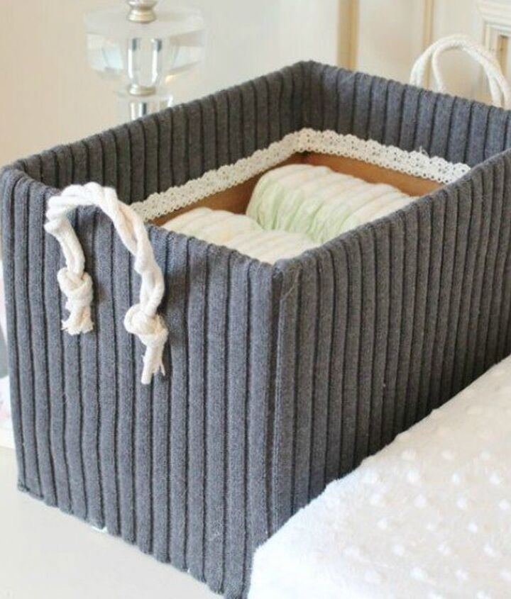 s 15 reasons not to trash your ugly worn out sweaters, crafts, repurposing upcycling, Cover a cardboard box for cute storage